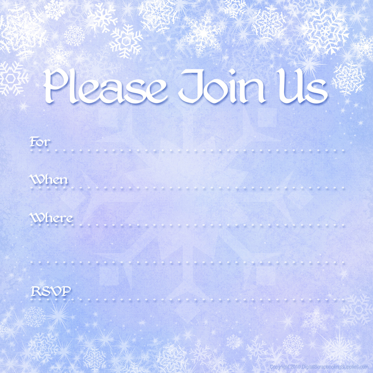 free winter invitations: snowflakes