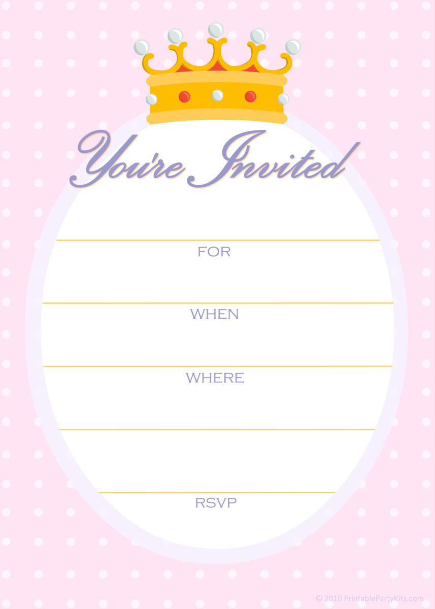 Free princess party invitations