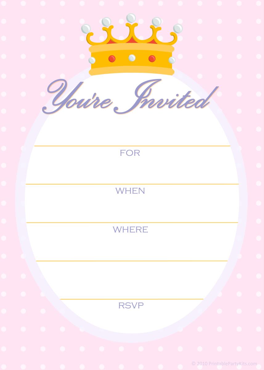 Free princess party invitations