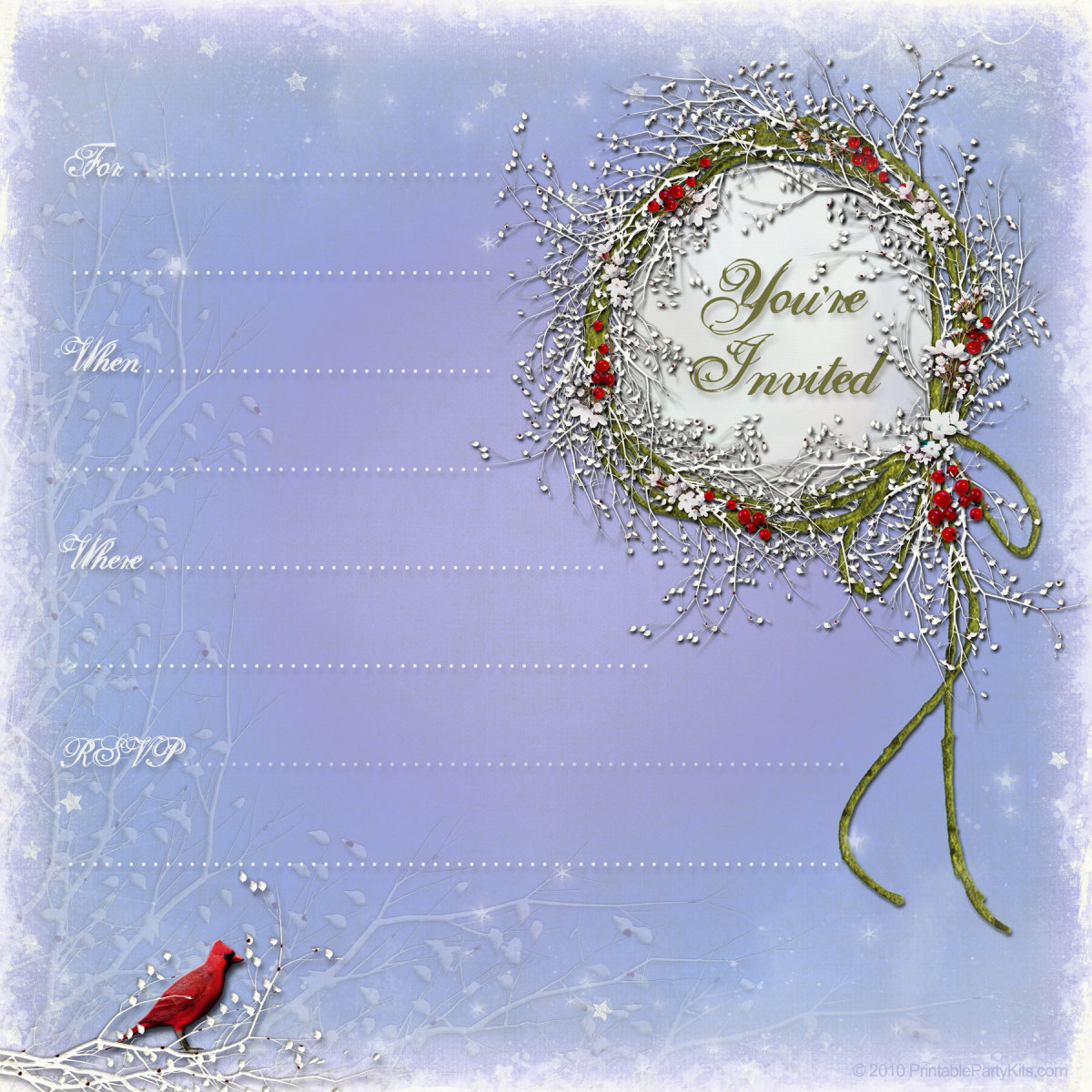free winter invitations: winter wreath with berries and cardinal bird