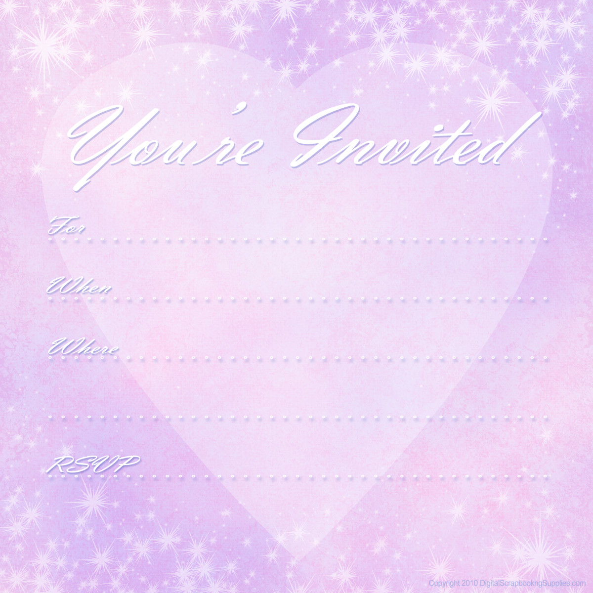 "Pink and purple heart and stars free valentine party invitation template -- ""You're Invited"""