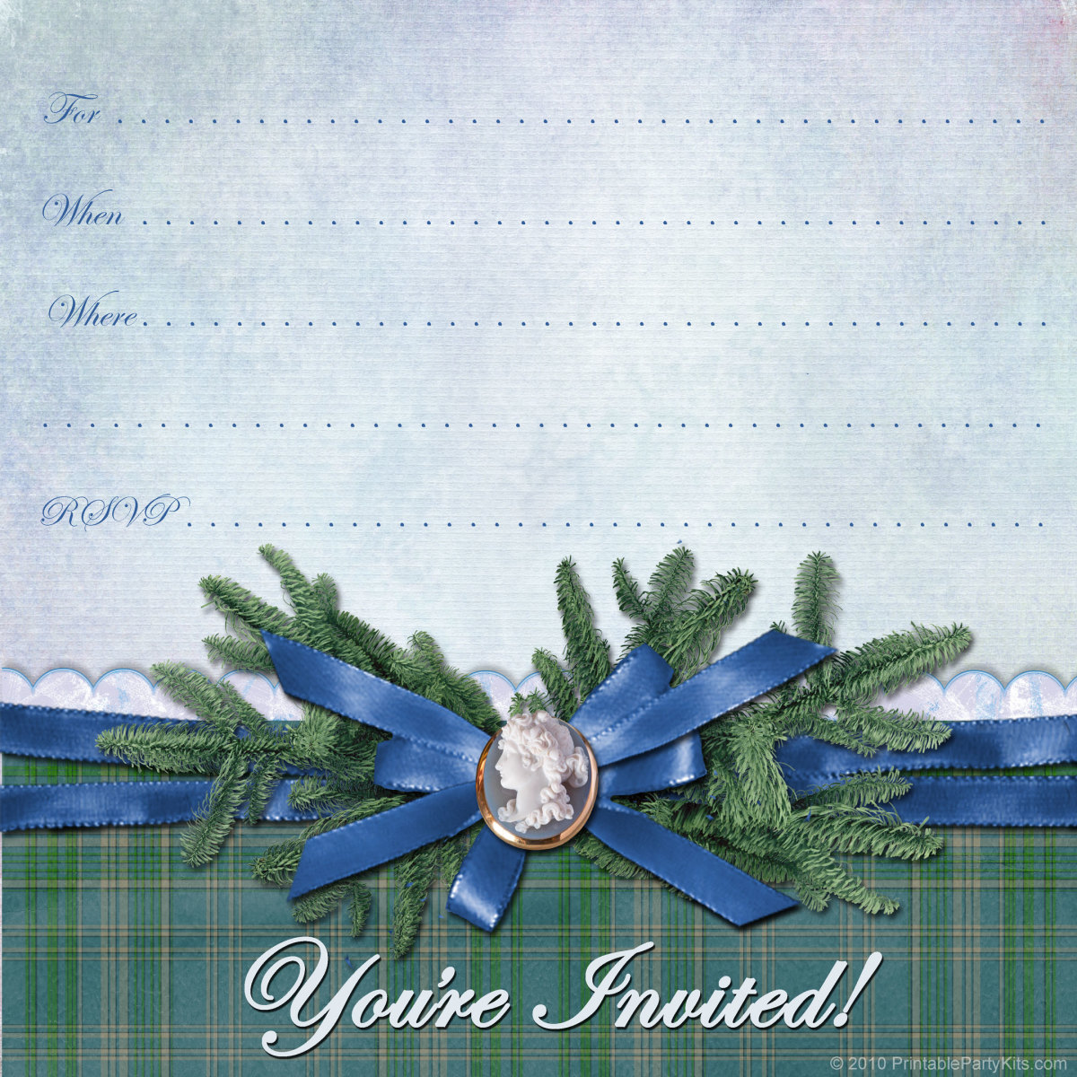 free winter invitation template: blue cameo and pine branches