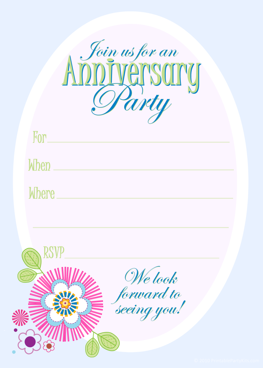Free anniversary party invitations