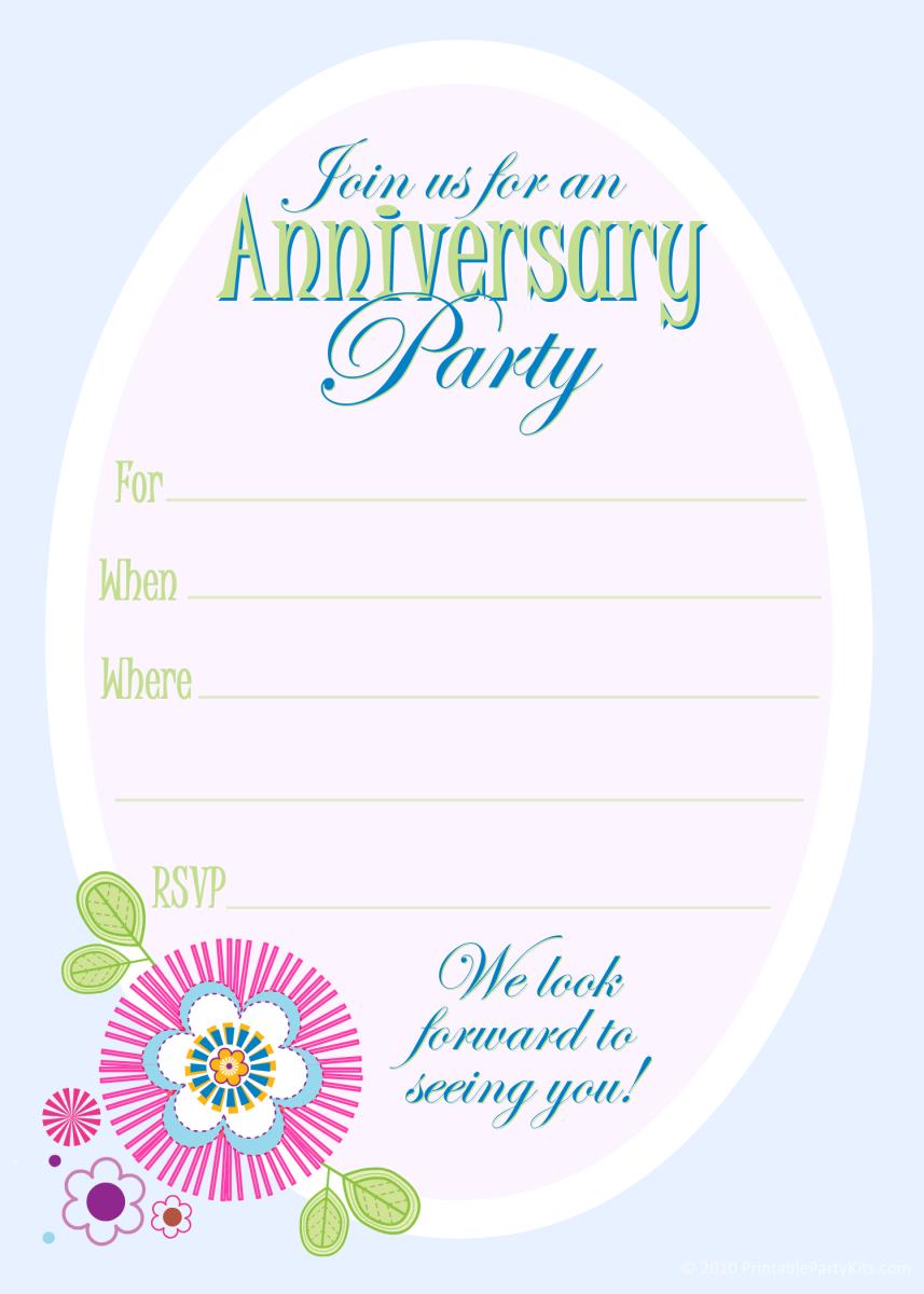 Free anniversary party invitations