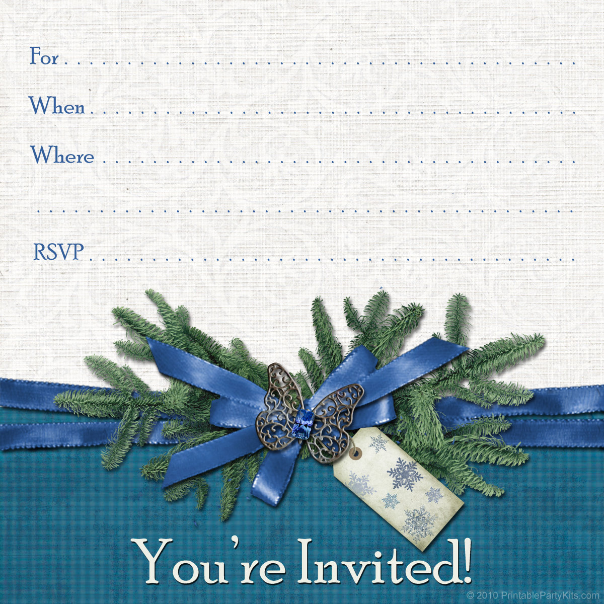 free winter invitation template: snowflake tag and jeweled butterfly pin