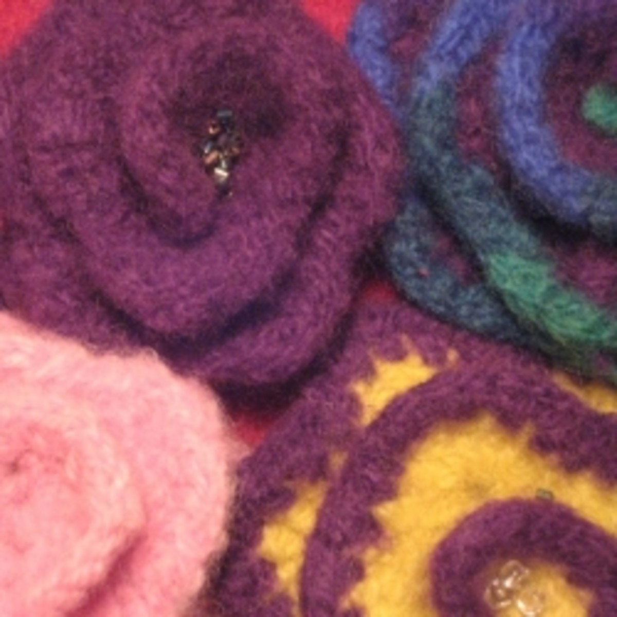 Felted Wool Flower Pins