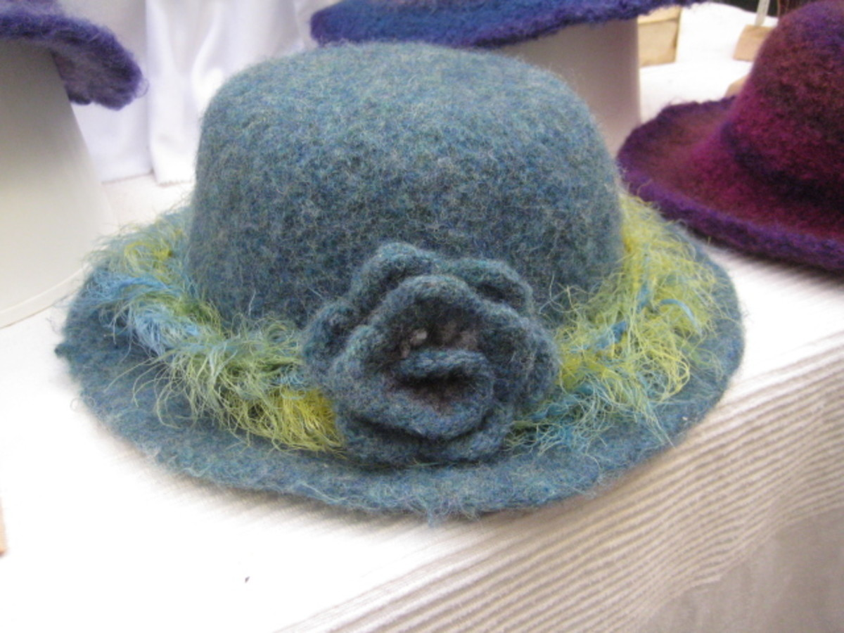 Felted Wool Hat - Knitted then Felted in Washing Machine, by Nimblepins