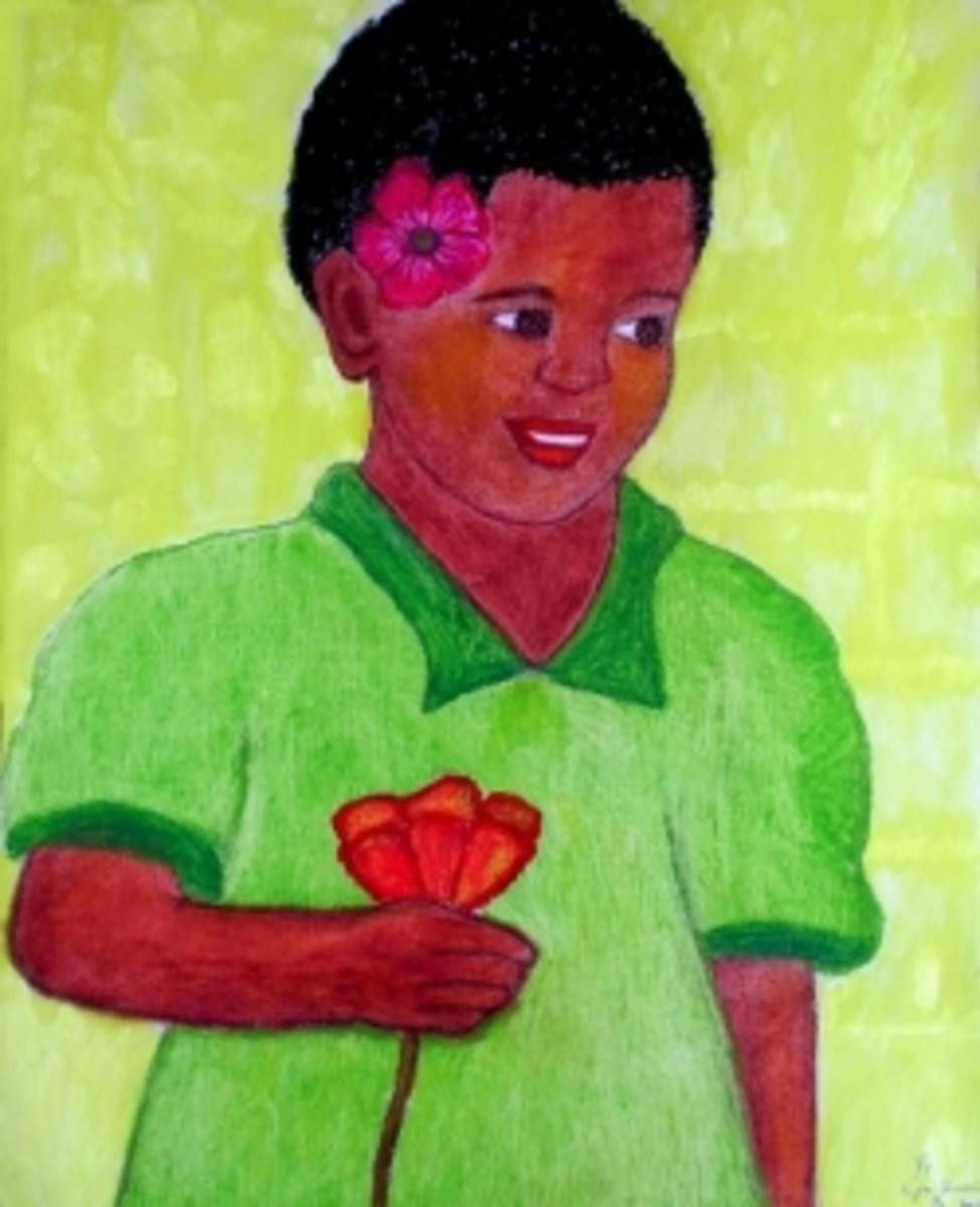 Angel in Green, African Girl Painting by Injete Chesoni