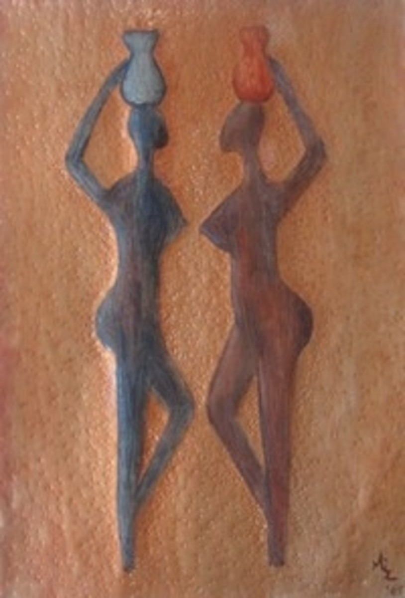 Friends, African Metal Art Painting by Injete