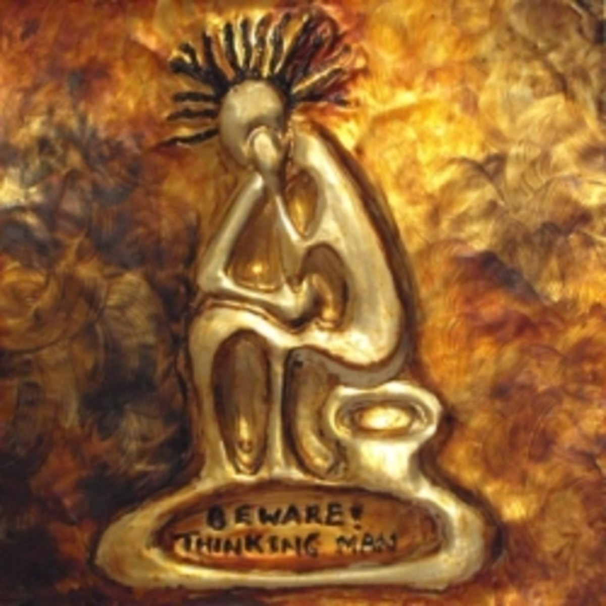 Beware Thinking Man: African Metal Art Card by Injete
