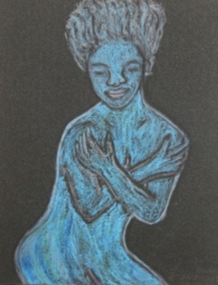 Blue Lady, Abstract Art by Injete Chesoni