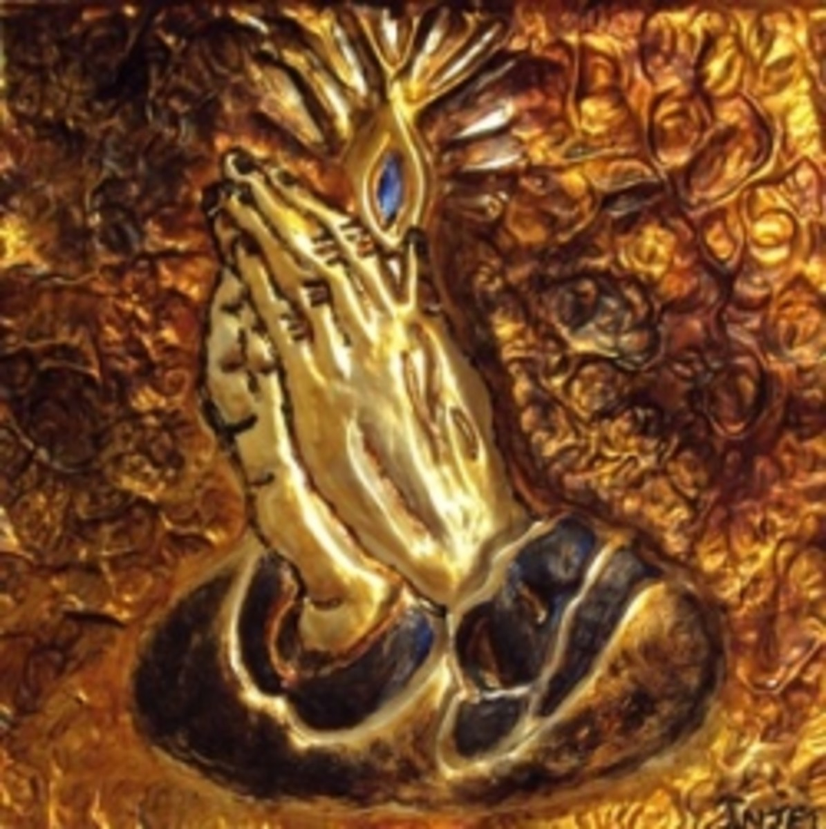 Praying Hands, Religious Metal Art Card by Injete