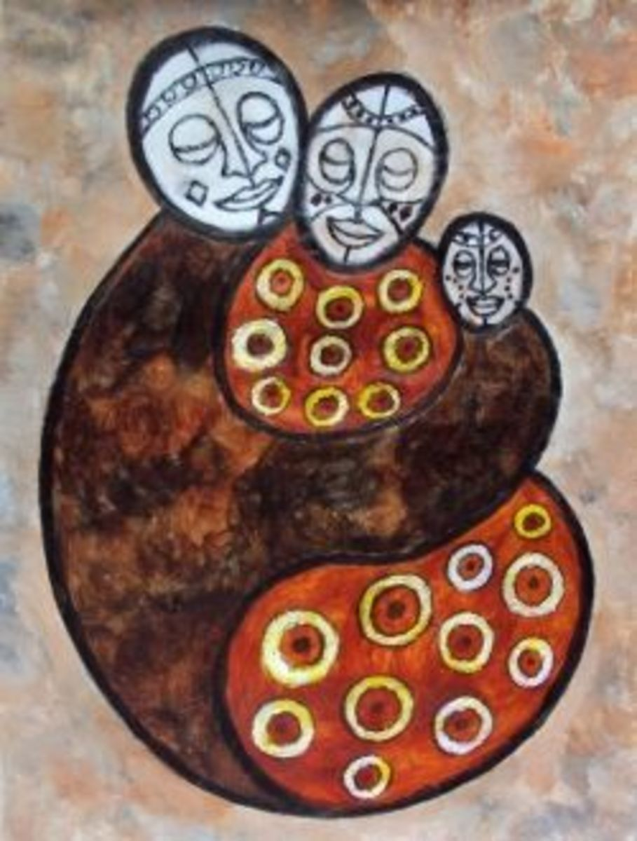 Family Unity African Art Postcard by Injete at Zazzle