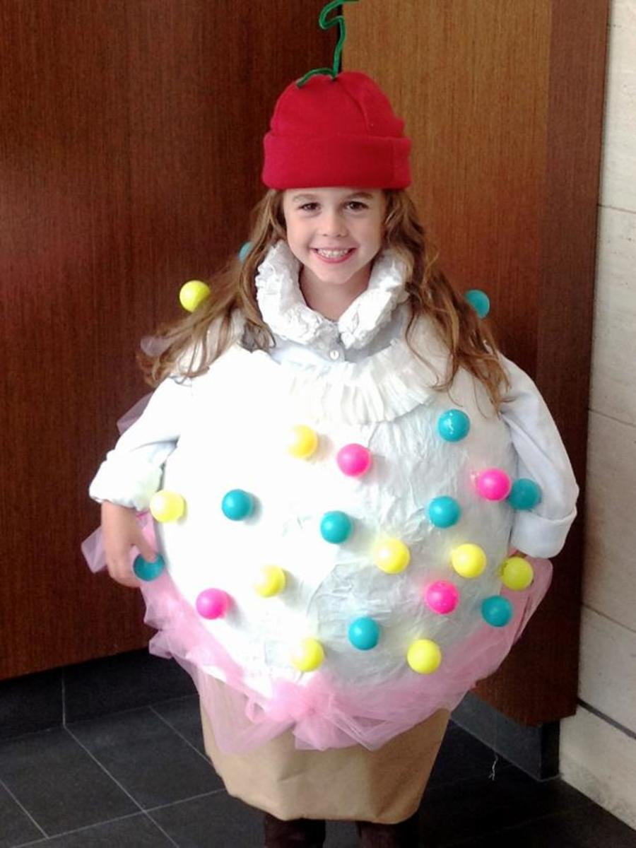 little girl in ice cream cone costume
