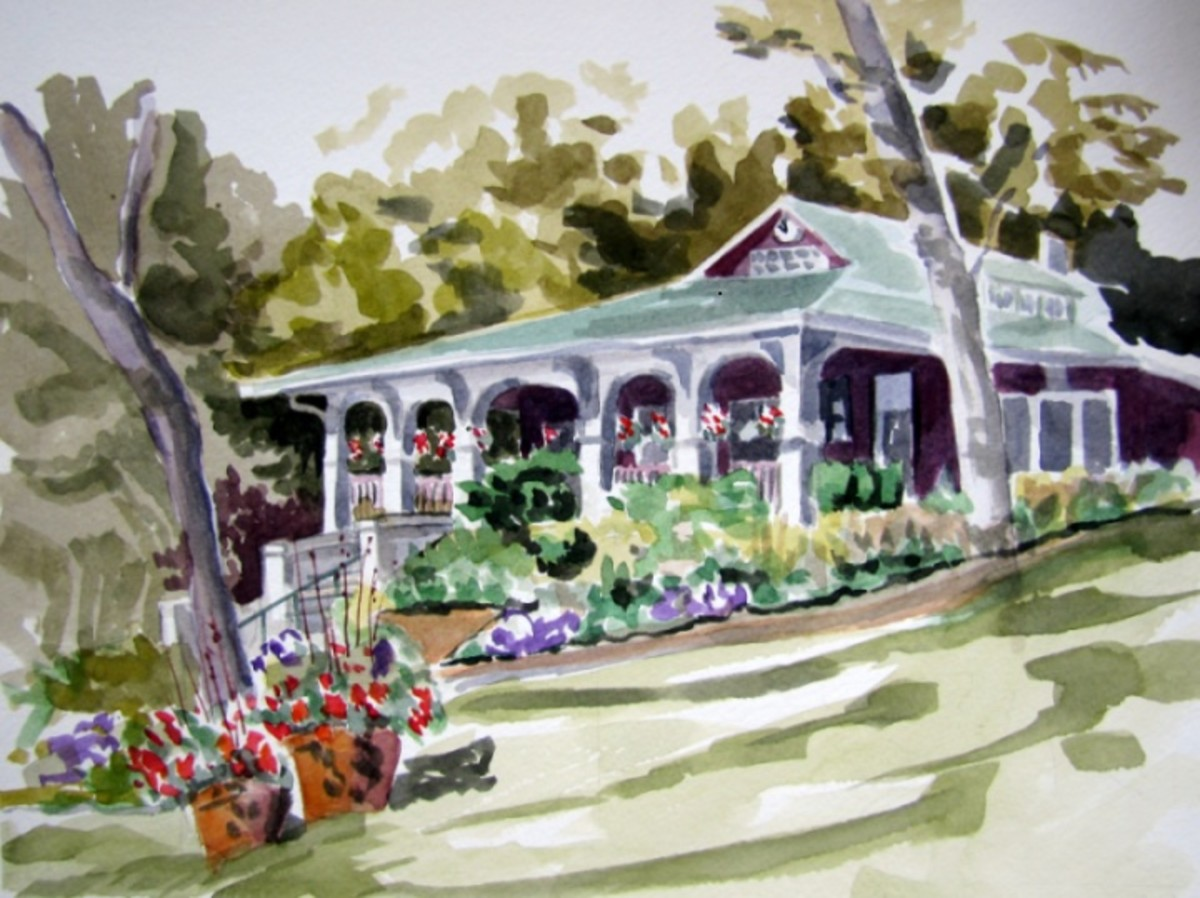 beautiful painting of Geneva Lakefront ice cream shop