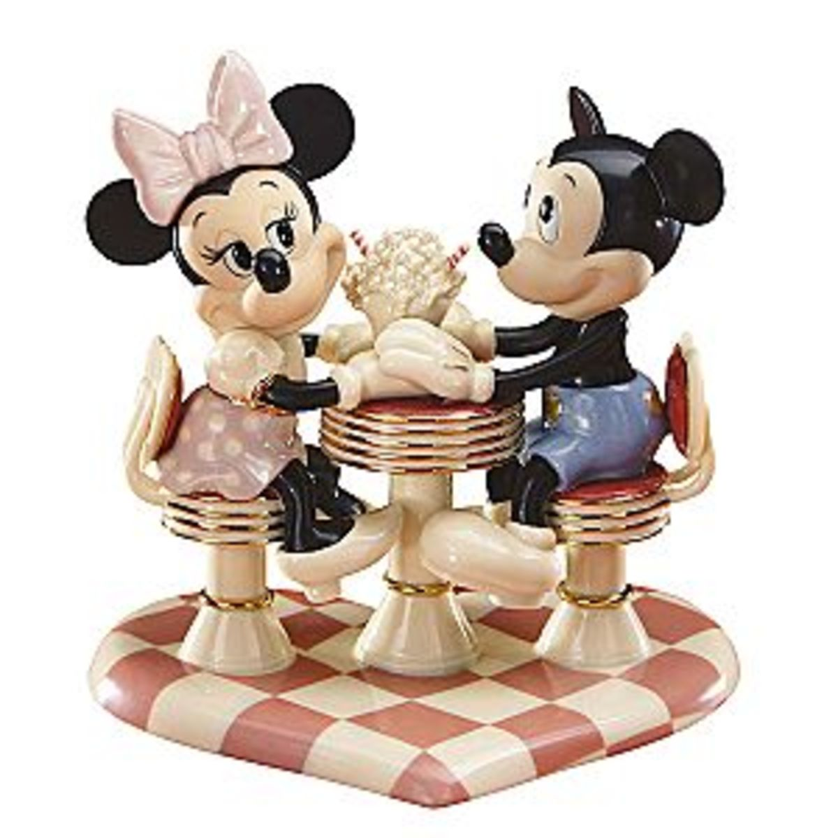Mickey and Minnie on a date with ice cream