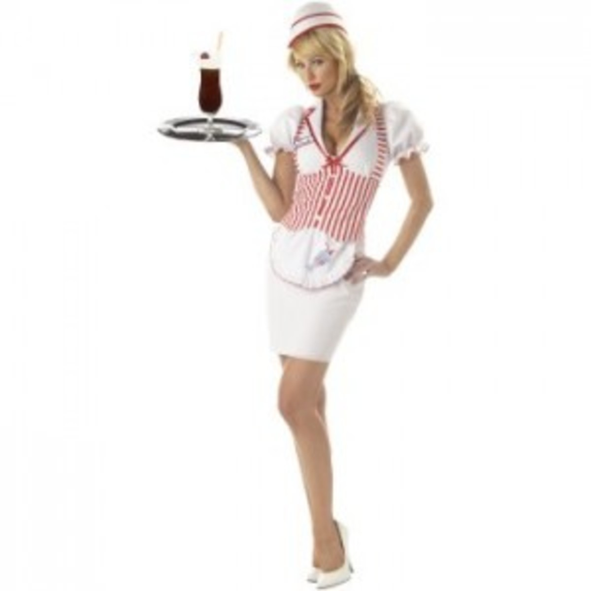 ice cream costume in pink and white holding a tray with a float