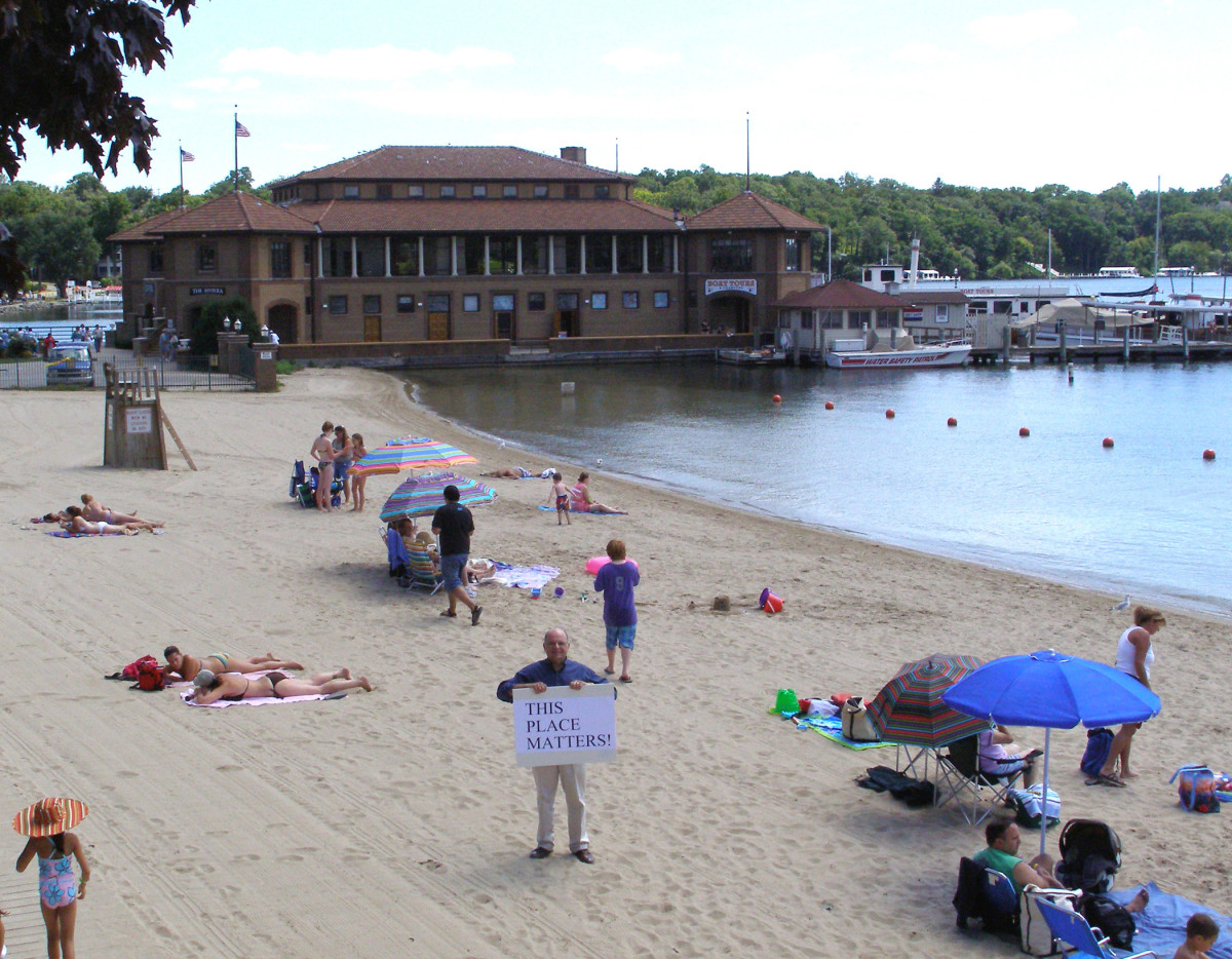 downtown Lake Geneva public beach with Riveria in the background