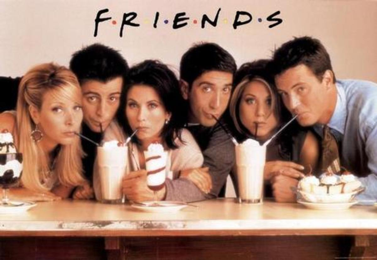 Friends television show cast with ice cream
