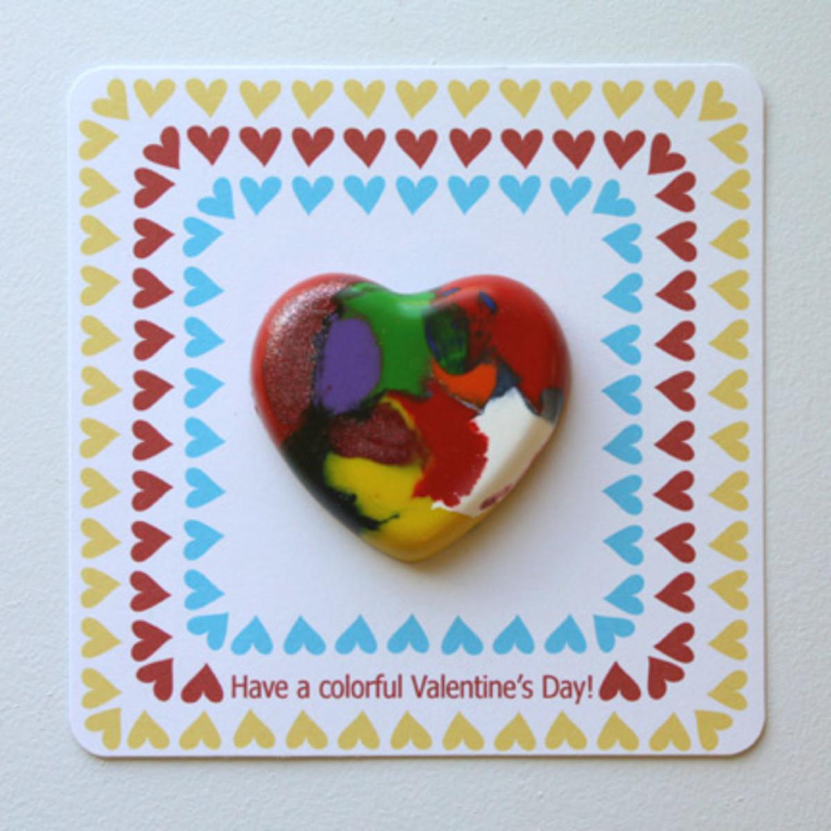 homemade crayon valentine's heart
