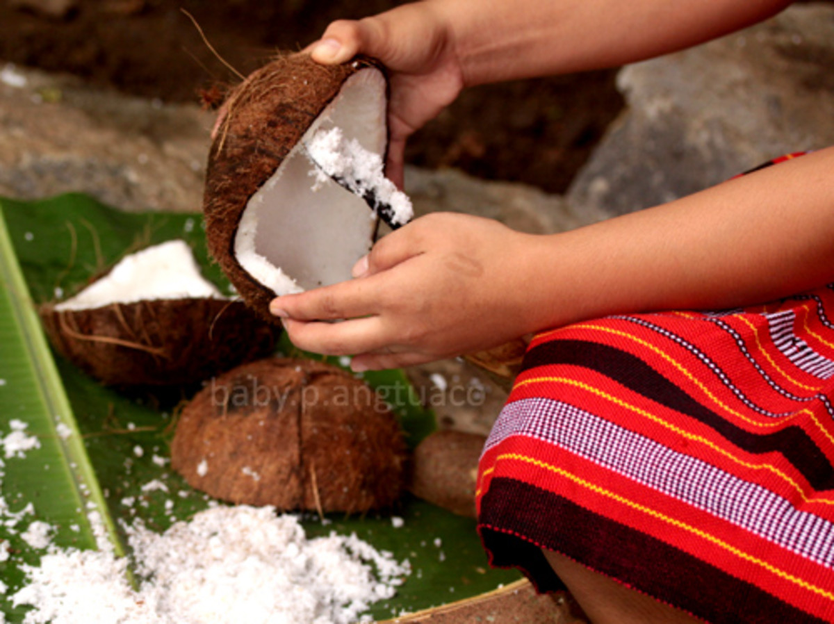 Grating coconut