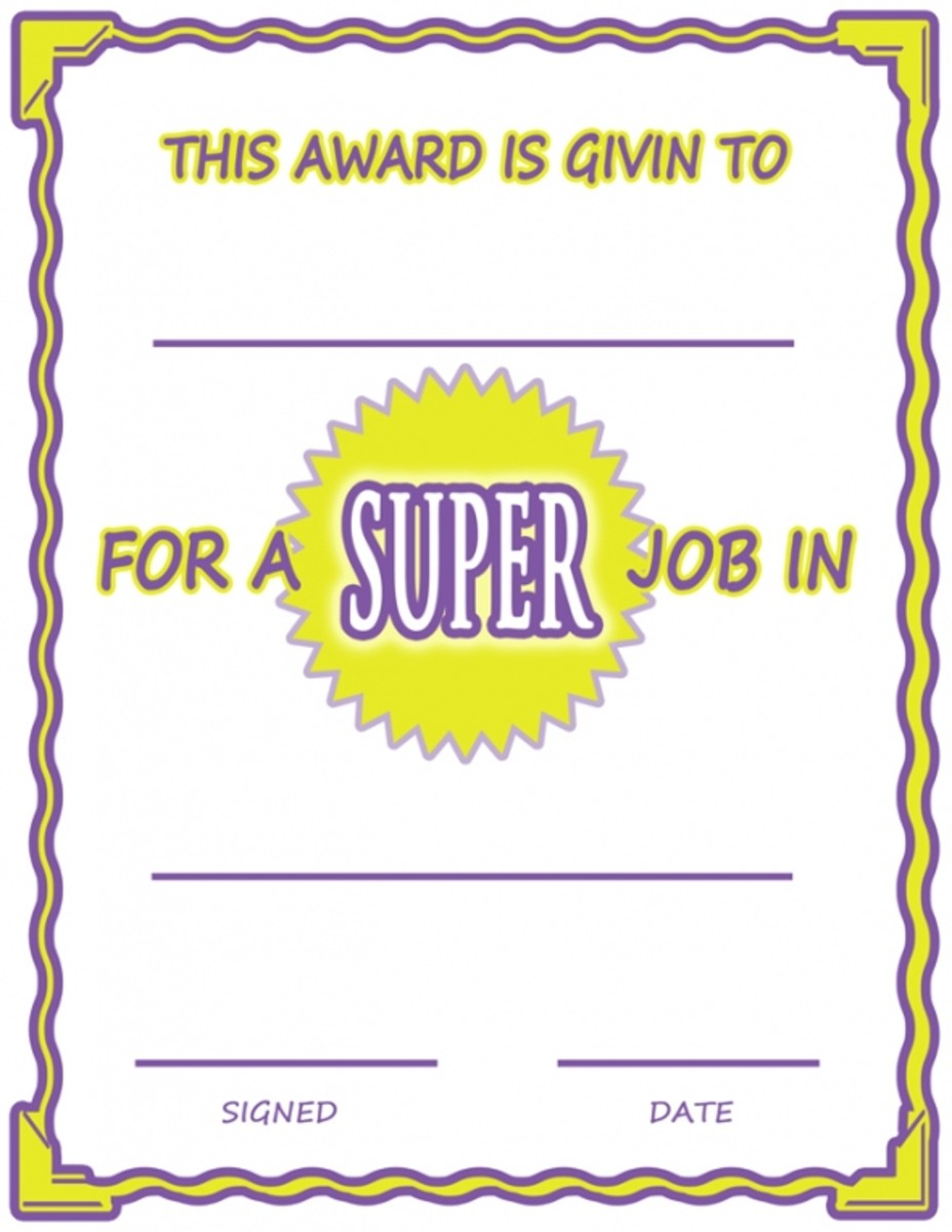 Super Job Printable Award