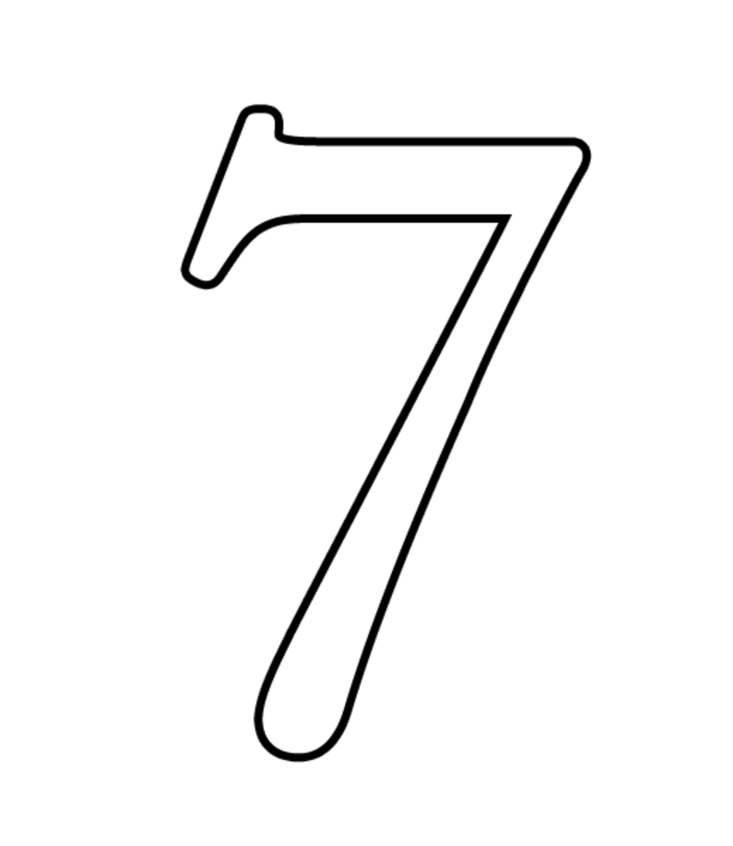 Number seven coloring page.