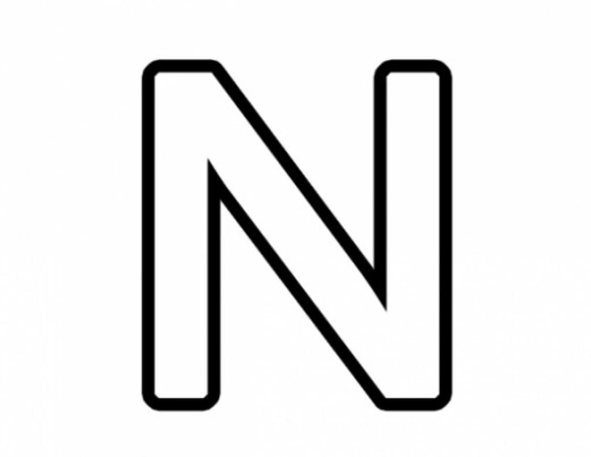 Alphabet Coloring Image N