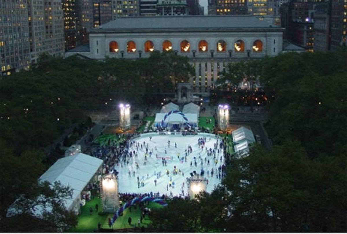 Bryant Park ice-skating rink and New York Public Library