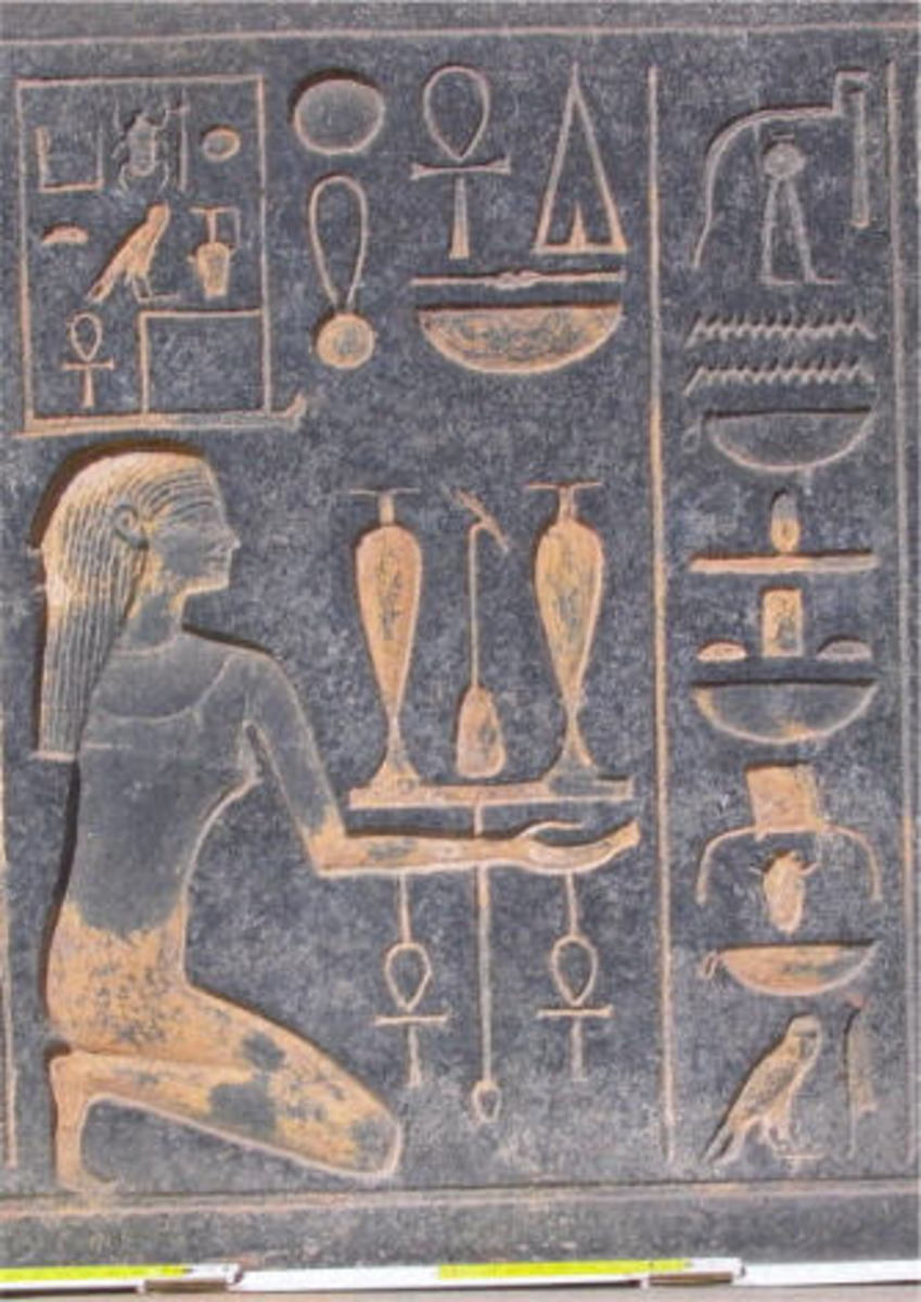 The GranoDiorite blocks personifies nomes of Upper Egypt. Figures are shown kneeling and presenting offering