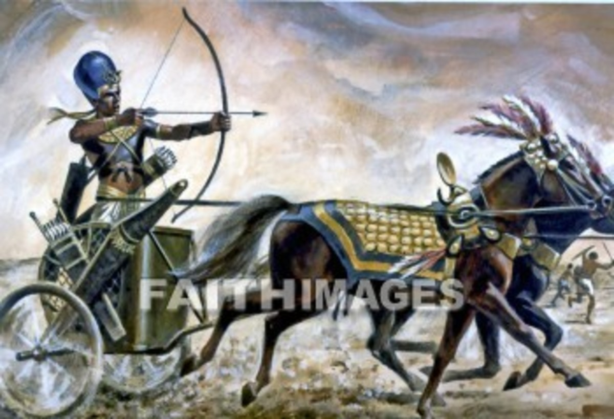 A painting based on an authentic tomb painting of Pharaoh Thutmosis IV in his war chariot, with bow and arrow