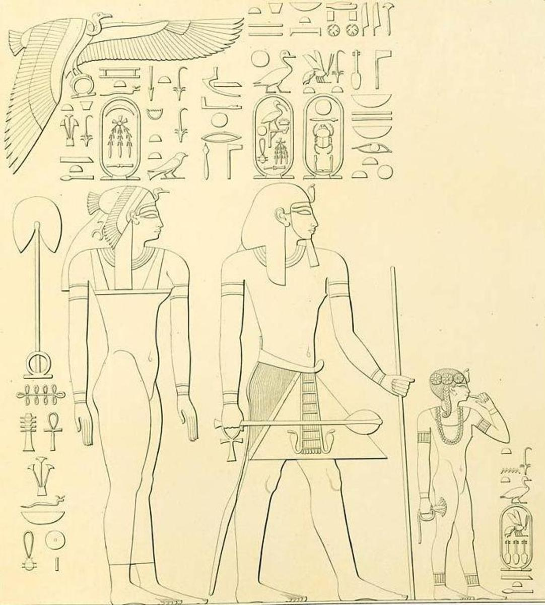 Pharaoh Thutomose  on the 18th Dynasty of Ancient Egypt, with his chief whife Queen Ahmose and daughter of Neferubity. (The father , nther and sister of Hatshepsut