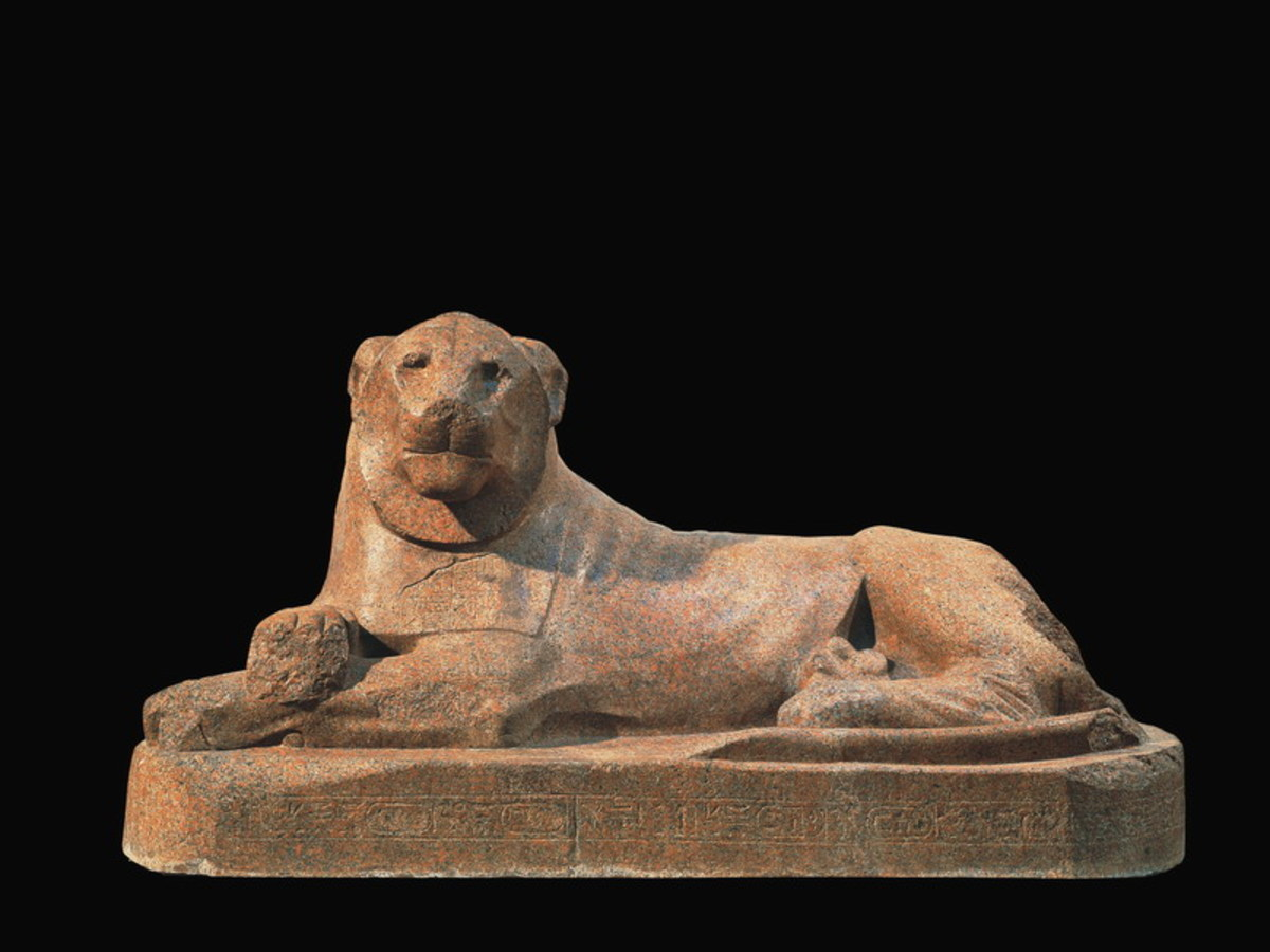 Lion of Amenhotep III that guarded a temple build by Amenhotep III and was re-inscribed for Tutankhamun