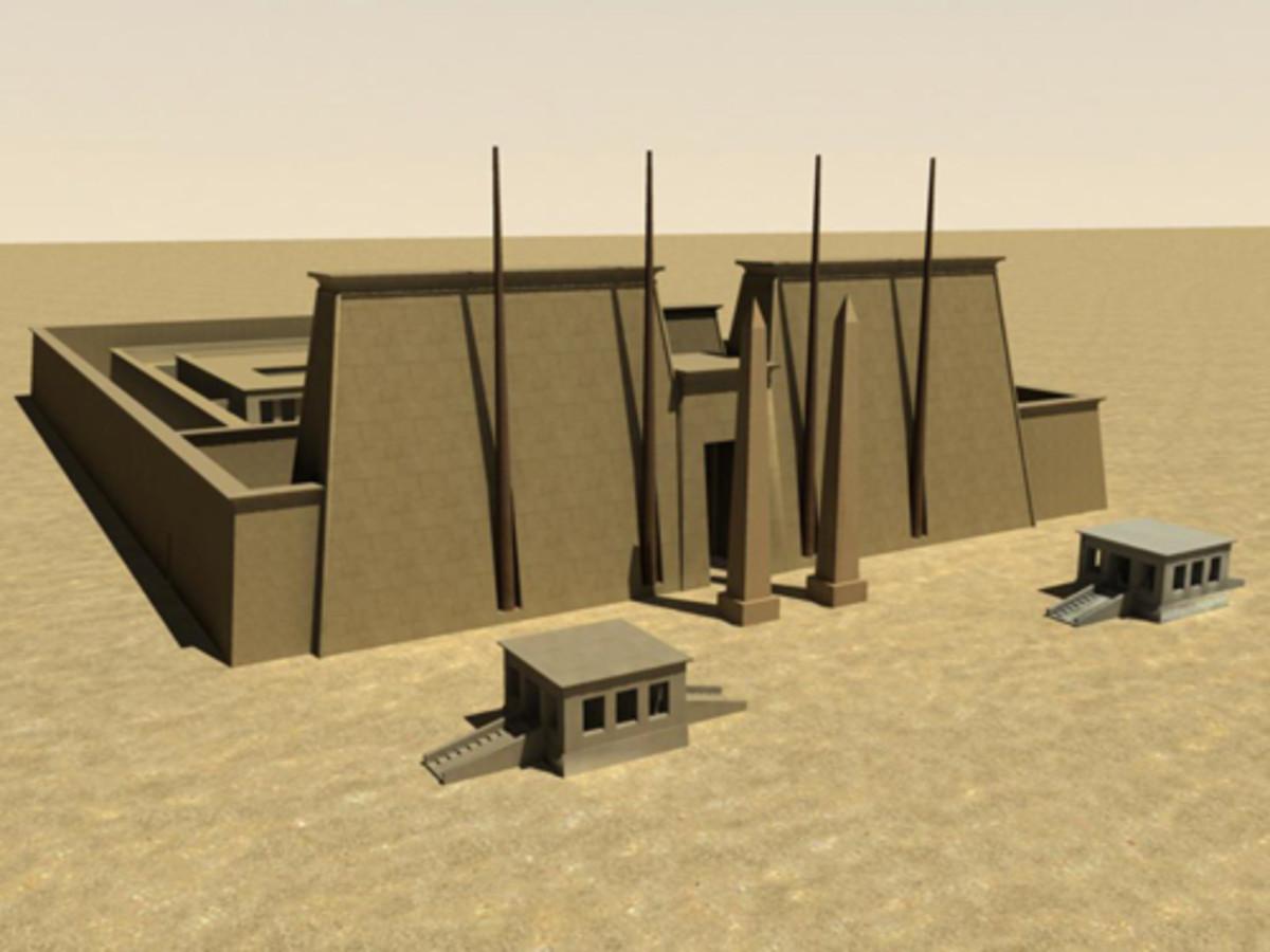 Rendering of Pylon  IV. Originally built Thutmose I 1505-1992 BC