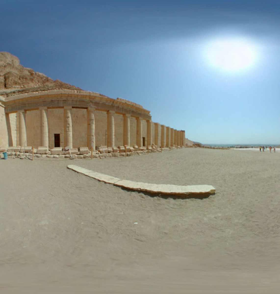 Hatshepsut's mortuary temple at Deir-le-Bahri, designed by Senemut, her vizier, and it was the first complex built on the site she choose, which would become the Valley of the Kings
