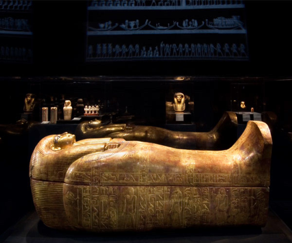 These beautiful gold and precious-stone canopic coffinttes were created to hold the mummified organs of the Pharaoh Tutankhanum