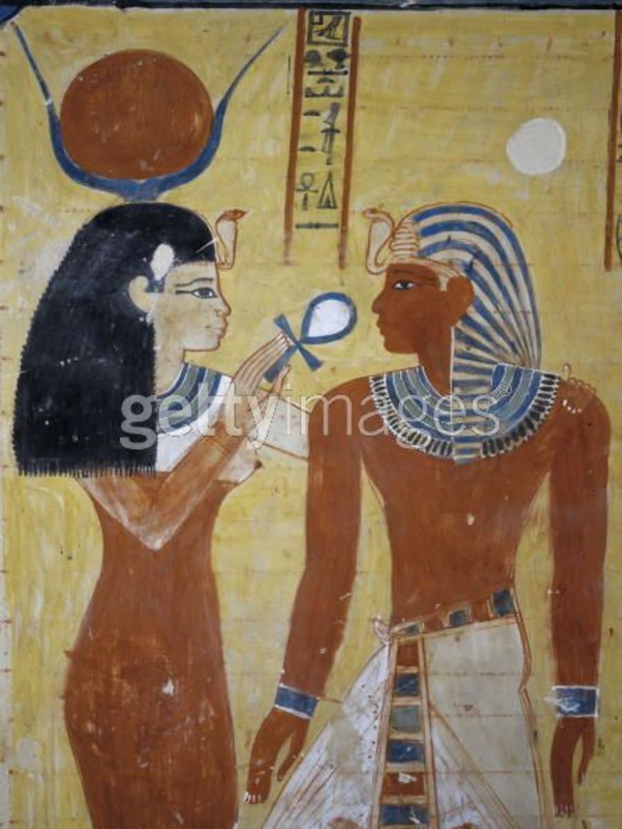 Thutmosis IV mural painting of Adoration of the gods, Isis and Pharaoh, XVIIIth Dynasty