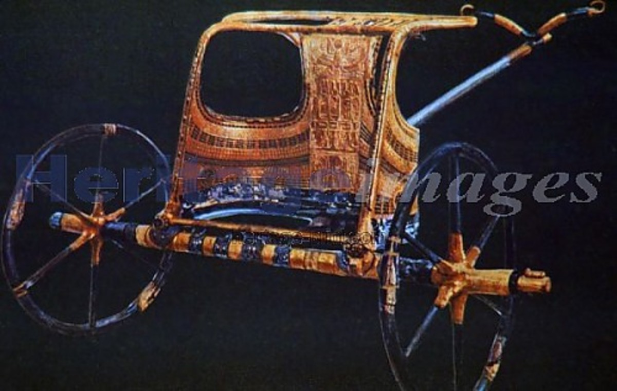 Tutankhamun's Burial Chariot, 14th Century B.C., and today it iskept at the Cairo Museum