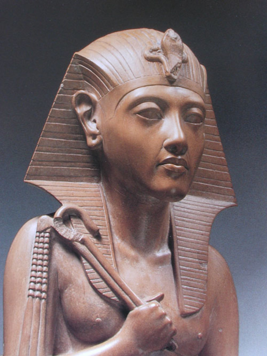 "Eitghteenth Dynasty (~1472-1458 BCE) Widow of Thutmosisi II, she ruled first as regent for his minor son and heir, and then as Pharaoh, a female Horus. Her Titles were ""King of Upper and Lower Egypt, Maatkare, and Daughter of Re"""