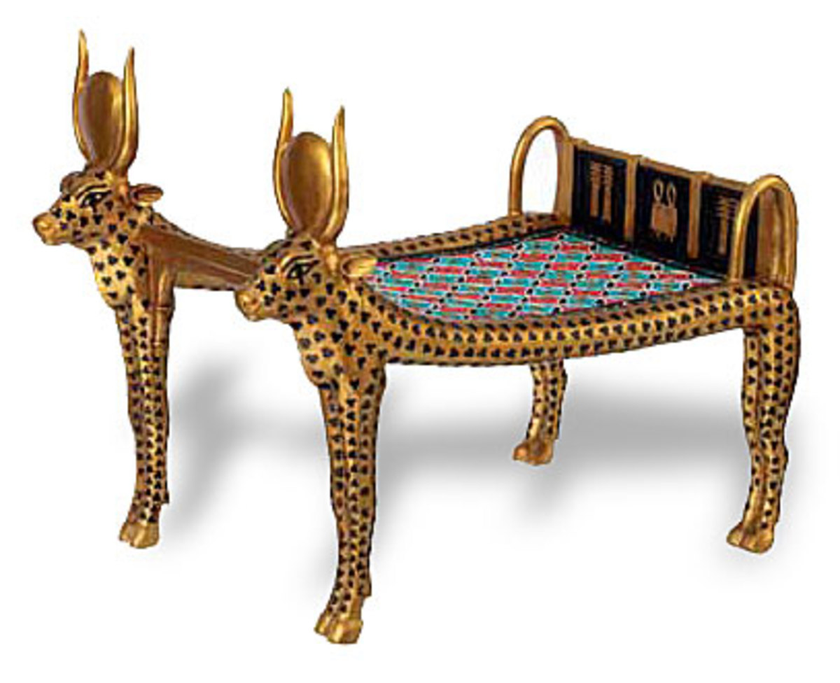 "Cow Mehetweret Bed Couch from Tutankhamun's Tomb. It is guilded as an image of Mehetweret(""the Great flood"""