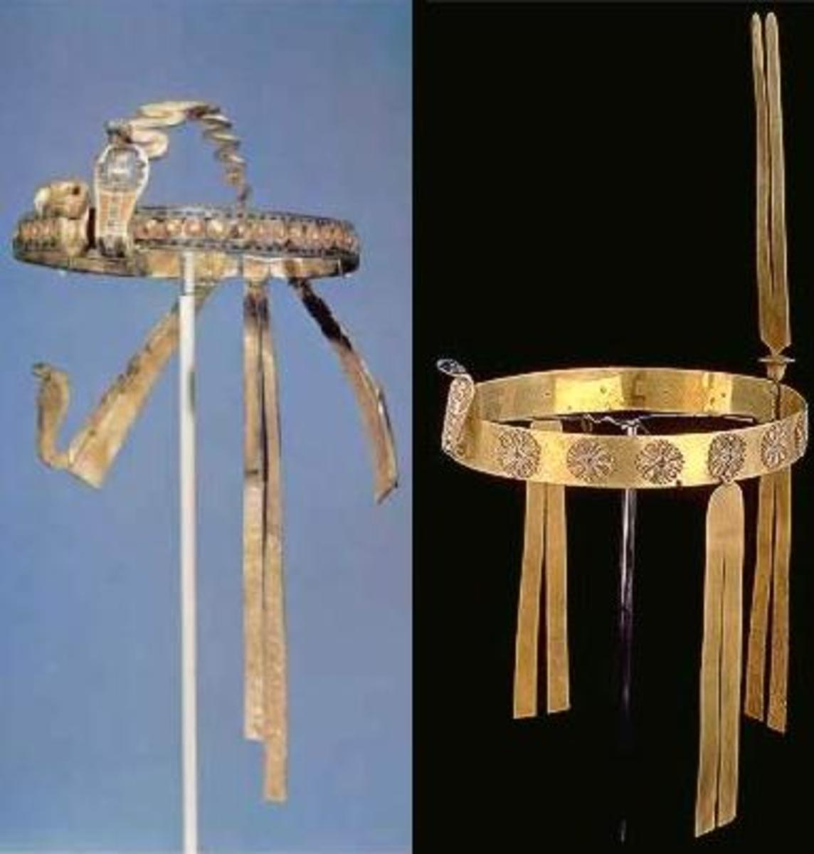 Both these Diadems belonged to Tutankhamun. Left: at the front of this diadem are the vulture and the uraeus; right: wavy body extending in an arc from front to back, serving to keep the diadem from dropping down over the face