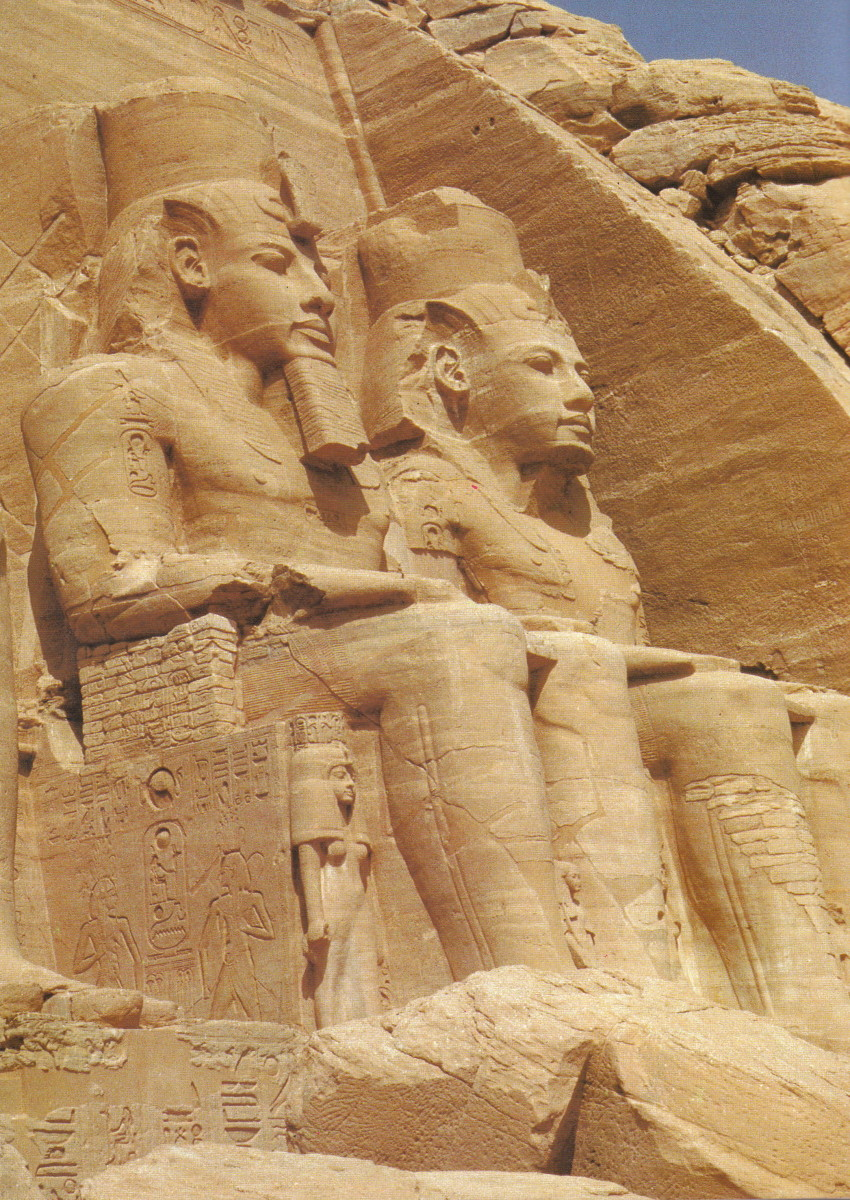 Ramesses' greatest monument is the huge temple carved from the natural sandstone rock at Abu Simbel, far to the south in Nubia. Two of the four pairs can be seen seated in the picture above