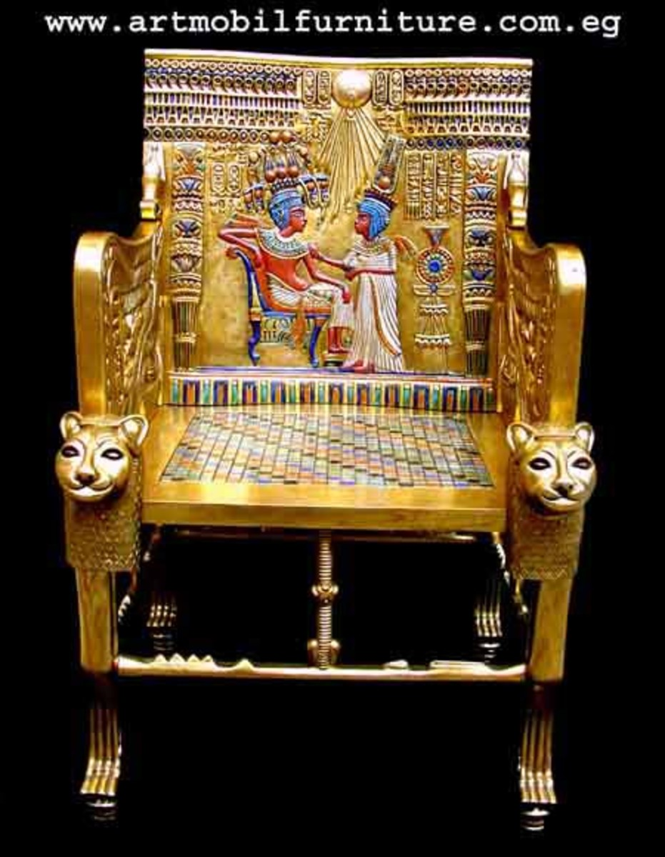 Tutankhamun's hand made chair in the 18th Dynasty, made of solid wood