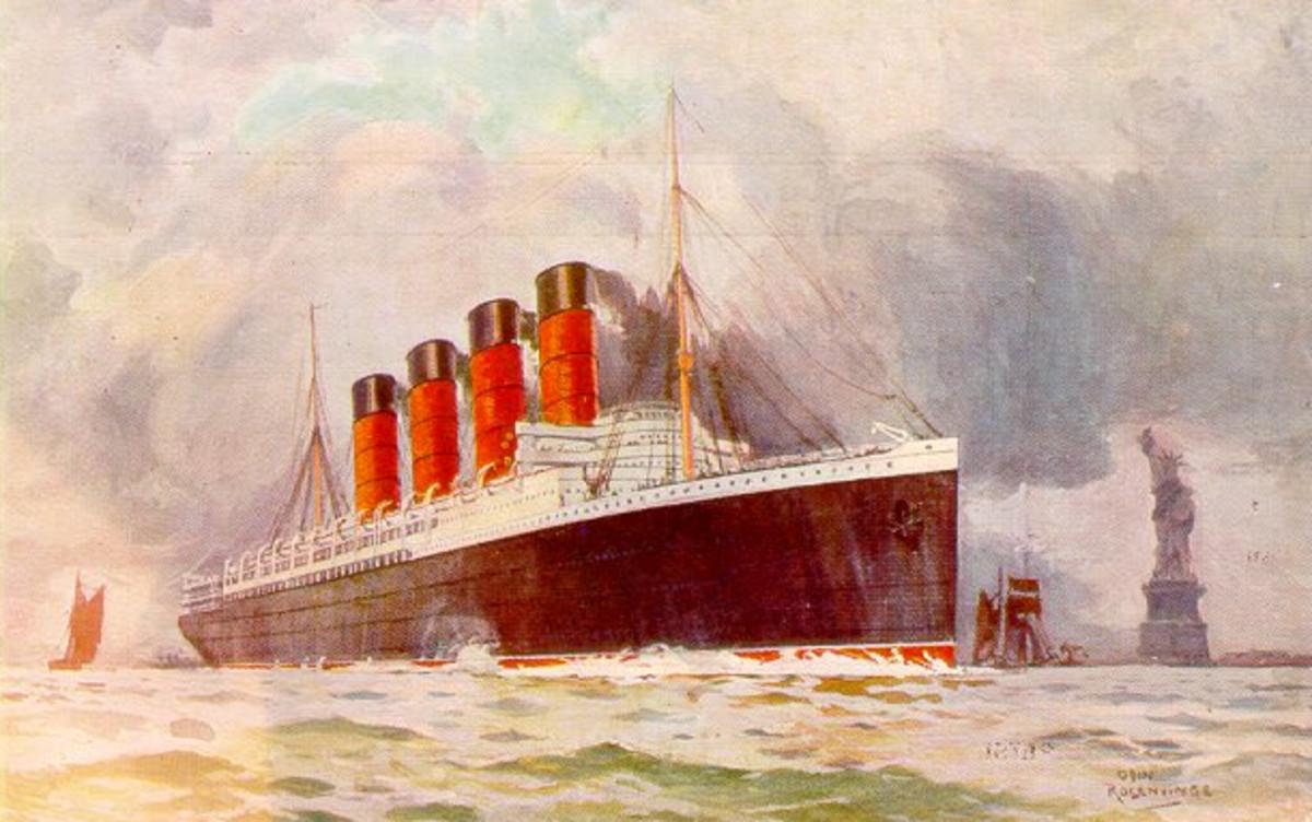 Postcard of Lusitania leaving New York.