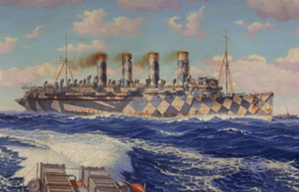 """Mauretania, as she had appeared in her WWI """"dazzle"""" paint scheme.  From a painting by Burnell Poole.  Image courtesy Wikimedia Commons."""