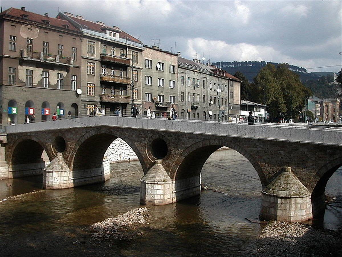 "The site of the assassination, Sarajevo's ""Latin Bridge.""  Image courtesy Wikimedia Commons."