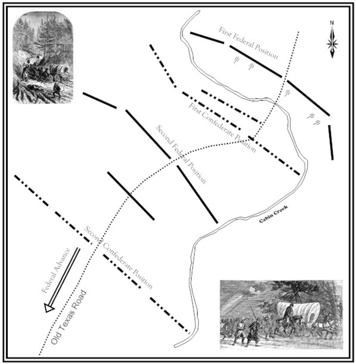 Oklahoma Civil War Sites: Map showing the Confederate and Union positions during the Battle of Cabin Creek.