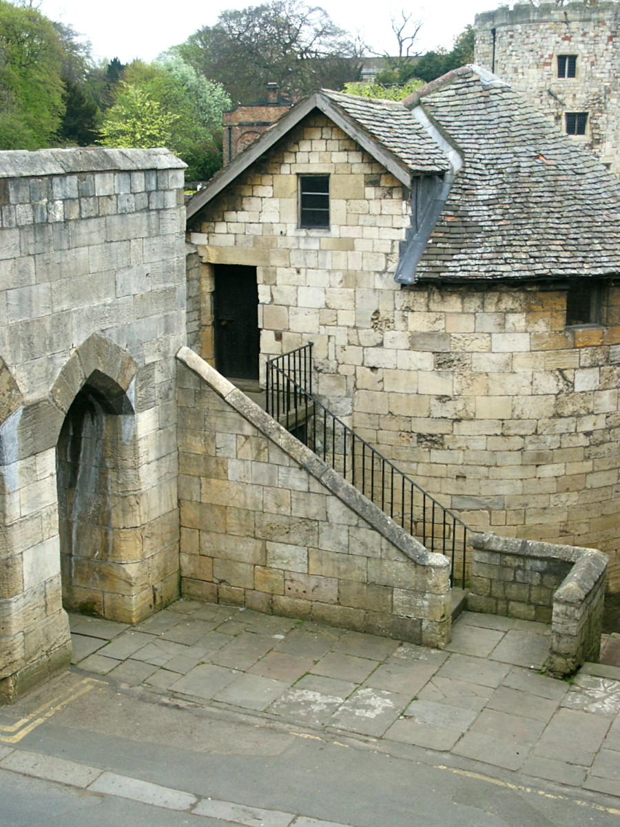 One of the sentry towers on the York City wall near the river.