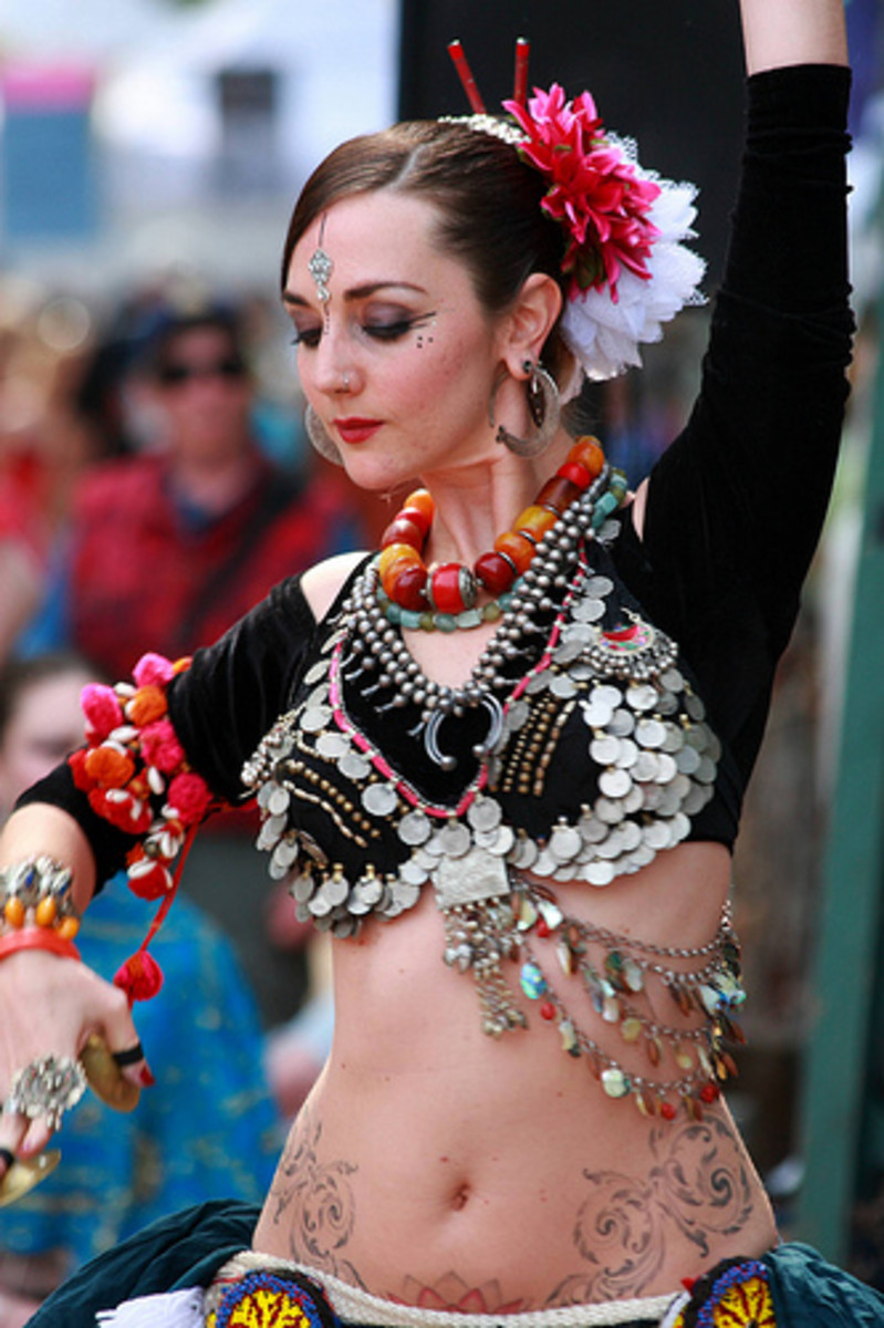 A typical tribal belly dance costume