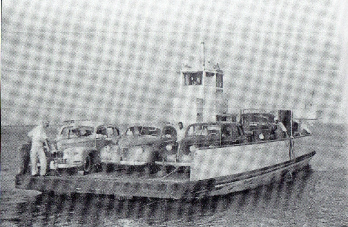Ferry service to Gasparilla Island in 1950. Cars were loaded aboard and transported for $5.